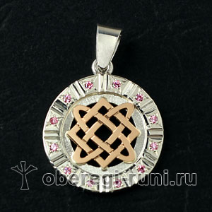 Оберег Звезда Лады Богородицы с розовыми камнями