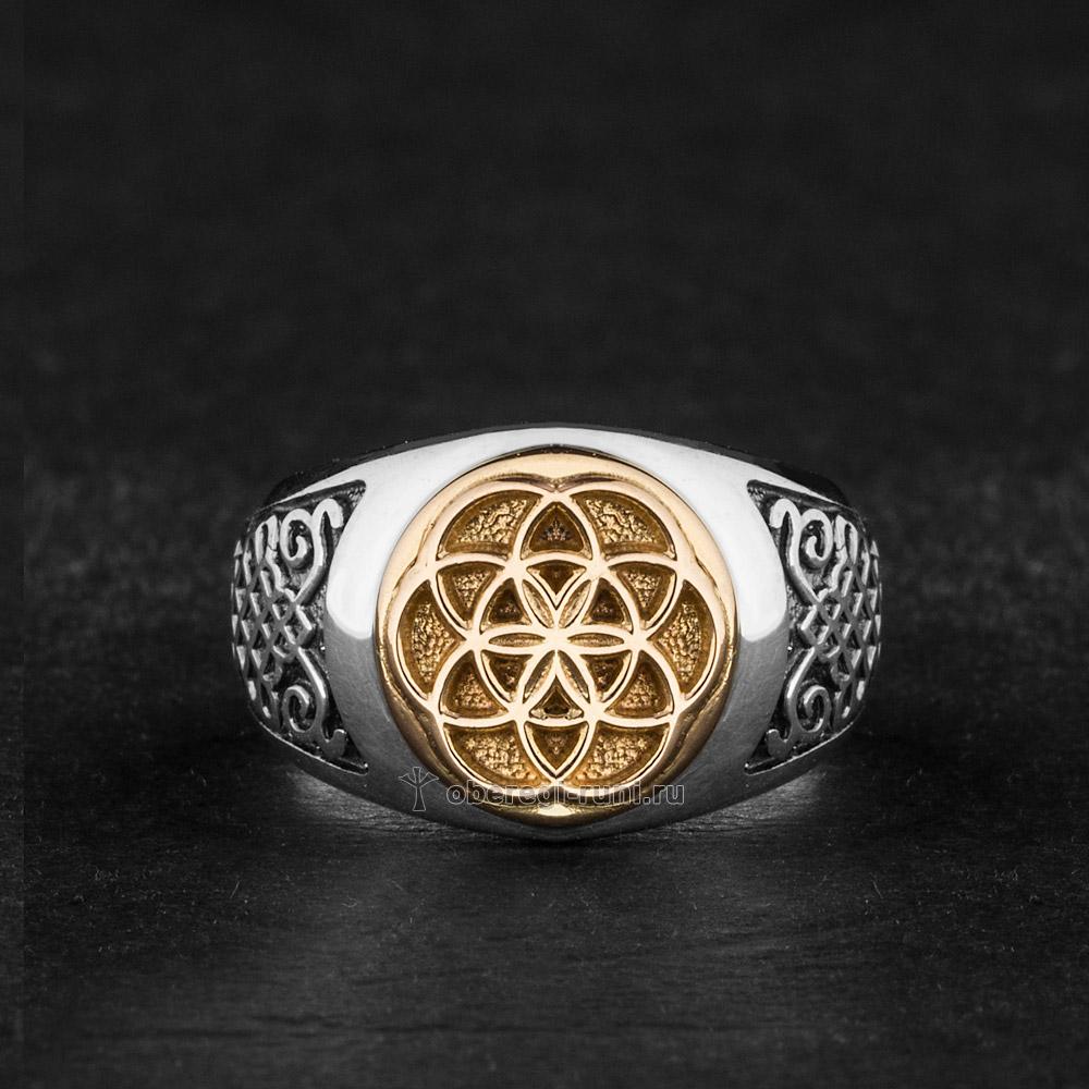 Кольцо Цветок Жизни. Серебро с золотом