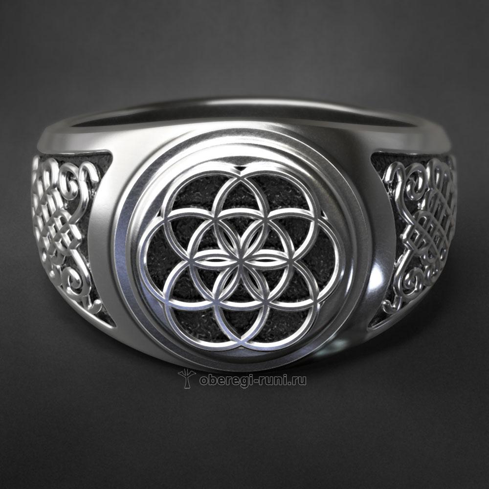 Кольцо Цветок Жизни. Серебро