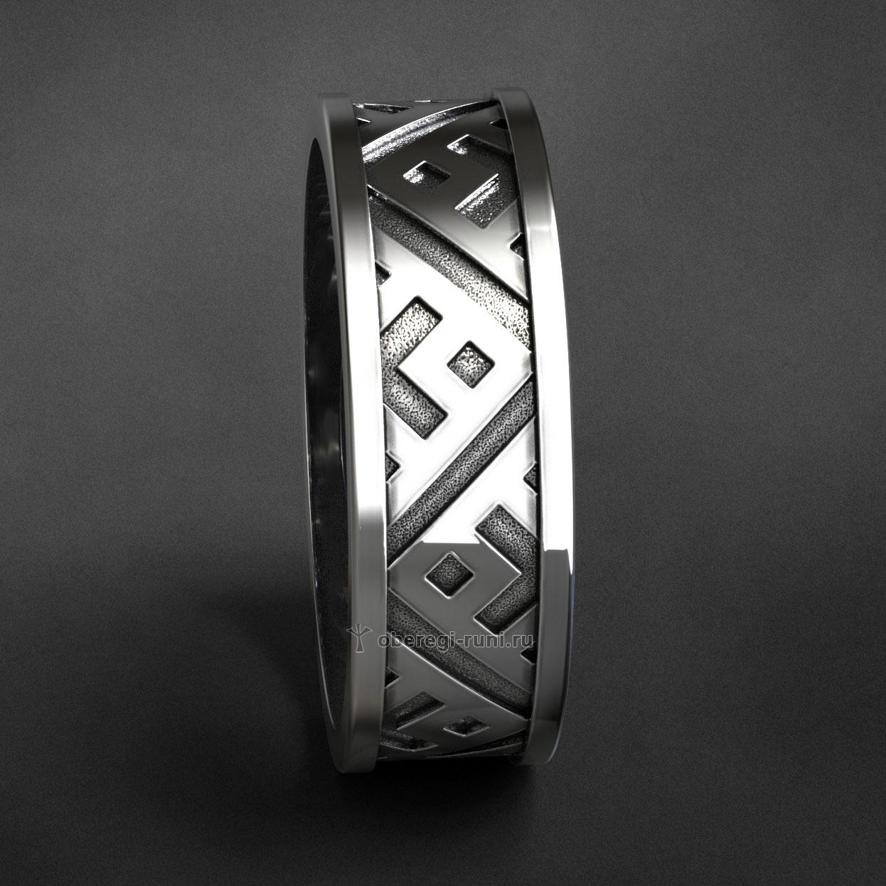 Кольцо Велес с чернением