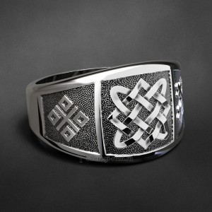 Кольцо с оберегами: Звезда Лады, Макошь и крест Мары