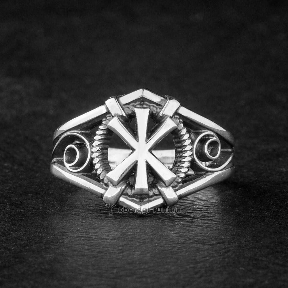 кольцо с руной жива серебро