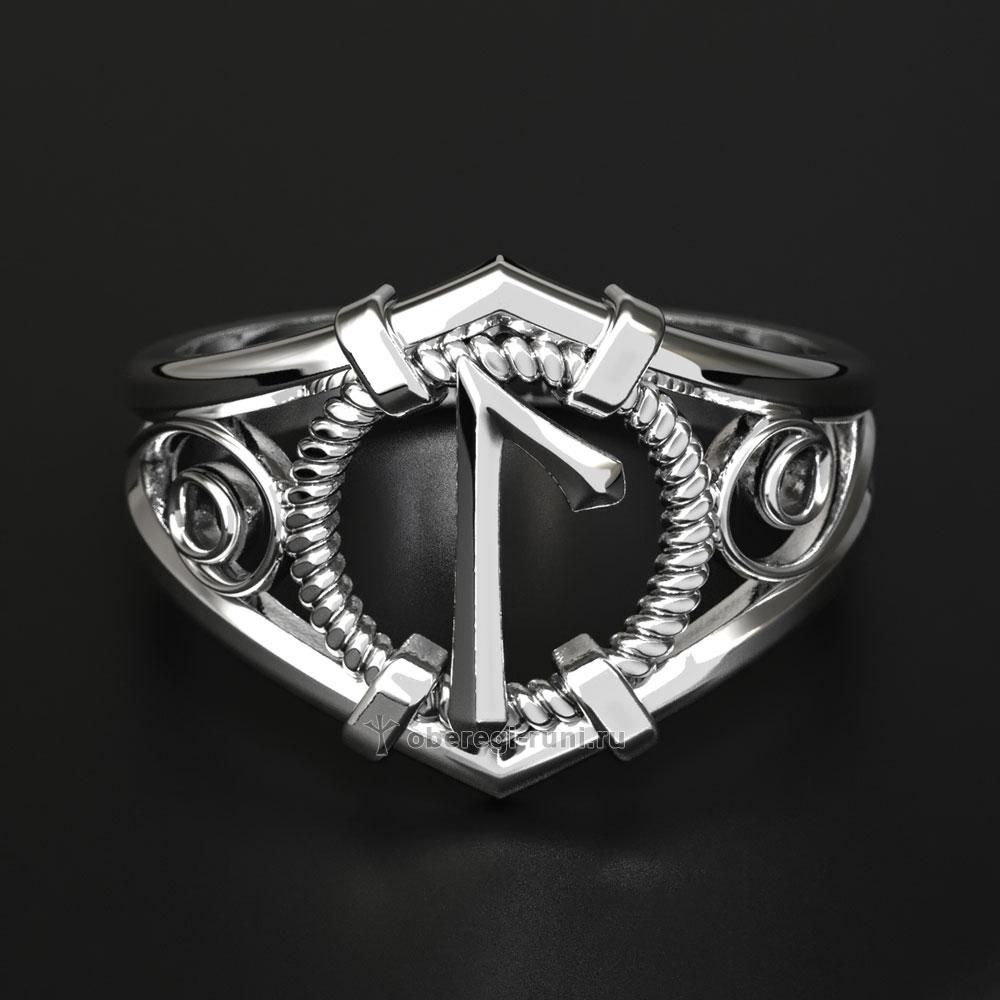Кольцо-оберег с руной Лагуз