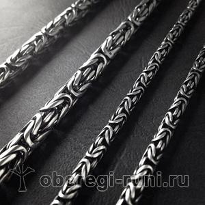 Цепь из серебра богатырская (плетение византия)
