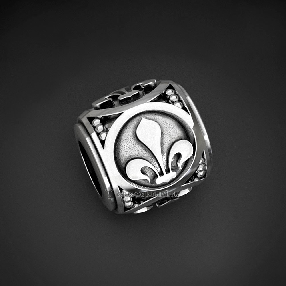 Шарм (бусина) с символом Лилия. Серебро