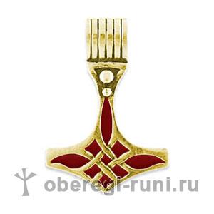 Молот Тора (Мьёлльнир) из золота с красной эмалью