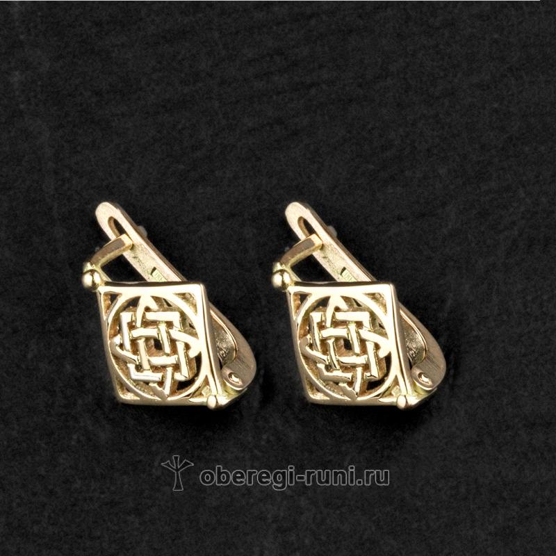 серьги из золота с оберегом Лады-богородицы