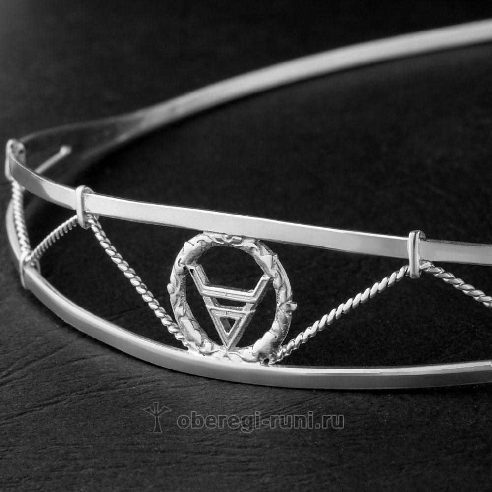 ободок из серебра с символом велес