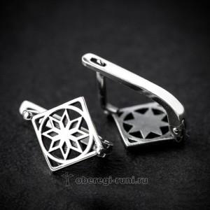Серьги из серебра Алатырь
