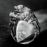 серебряное кольцо медведь