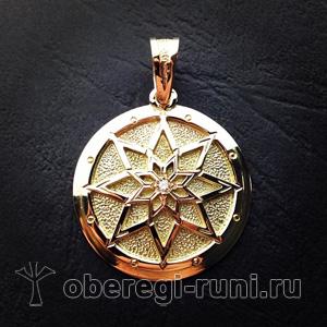 Алатырь-щит из золота с бриллиантом