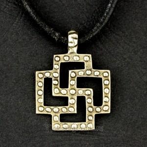 солярный крест оберег из латуни