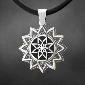 алатырь-щит оберег из серебра в солнце