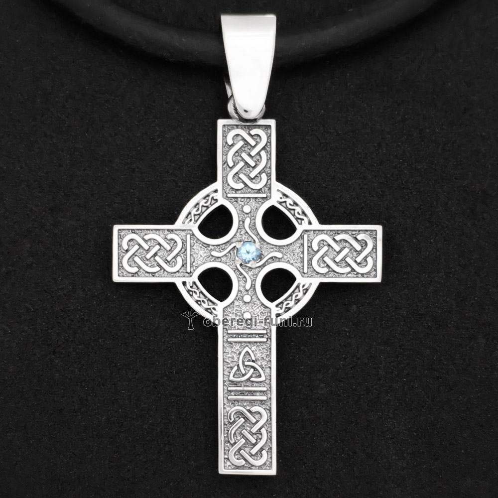 Кельтский крест с топазом. Серебро 925