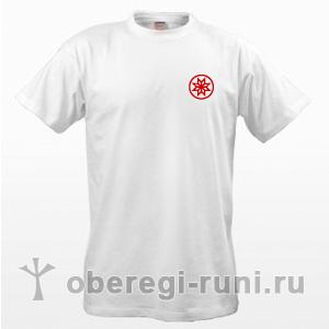 Белая футболка с оберегом Алатырь