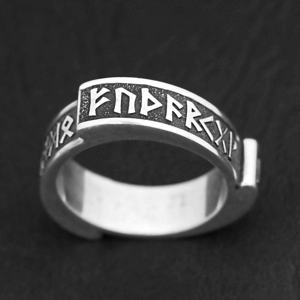 кольцо с рунами серебро футарк