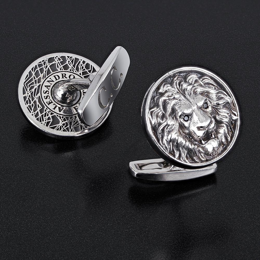 запонки из серебра лев