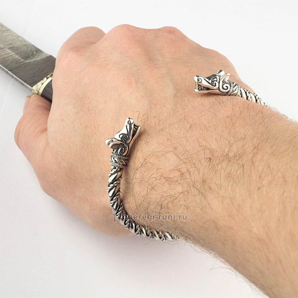 купить скандинавский браслет серебро ручная работа