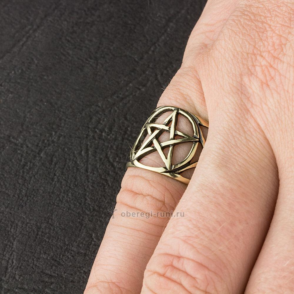 кольцо из латуни с пентаграммой
