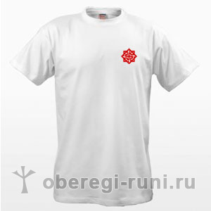 Белая футболка с оберегом Валькирия