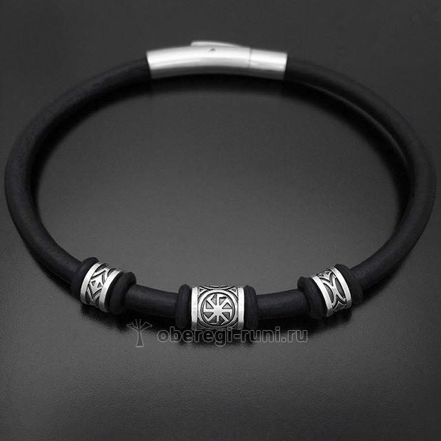 Славянский браслет КОЛОВРАТ (противосолонь). Серебро, кожа