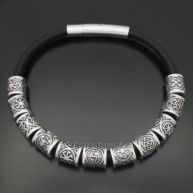 Славянский браслет с оберегами и рунами. Серебро, кожа