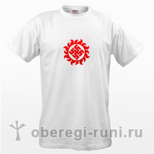 Белая футболка с оберегом Цветок папоротника в Ярило