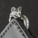 кольцо лиса из серебра